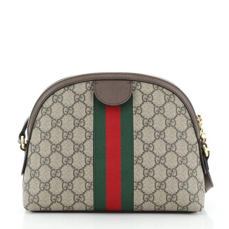 Gray Gucci Ophidia Dome Shoulder Bag GG Coated Canvas Small