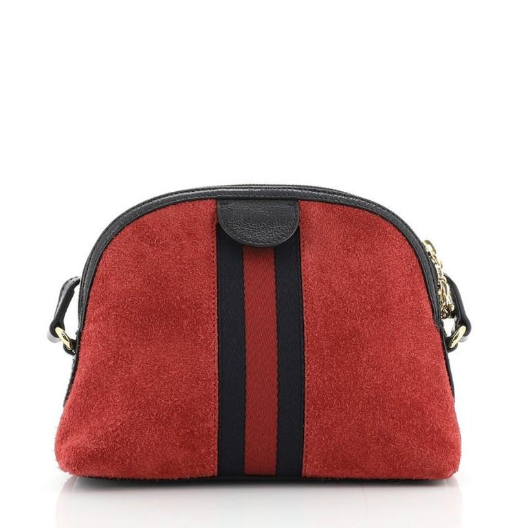 Gucci Ophidia Dome Shoulder Bag Suede Small In Good Condition For Sale In New York, NY