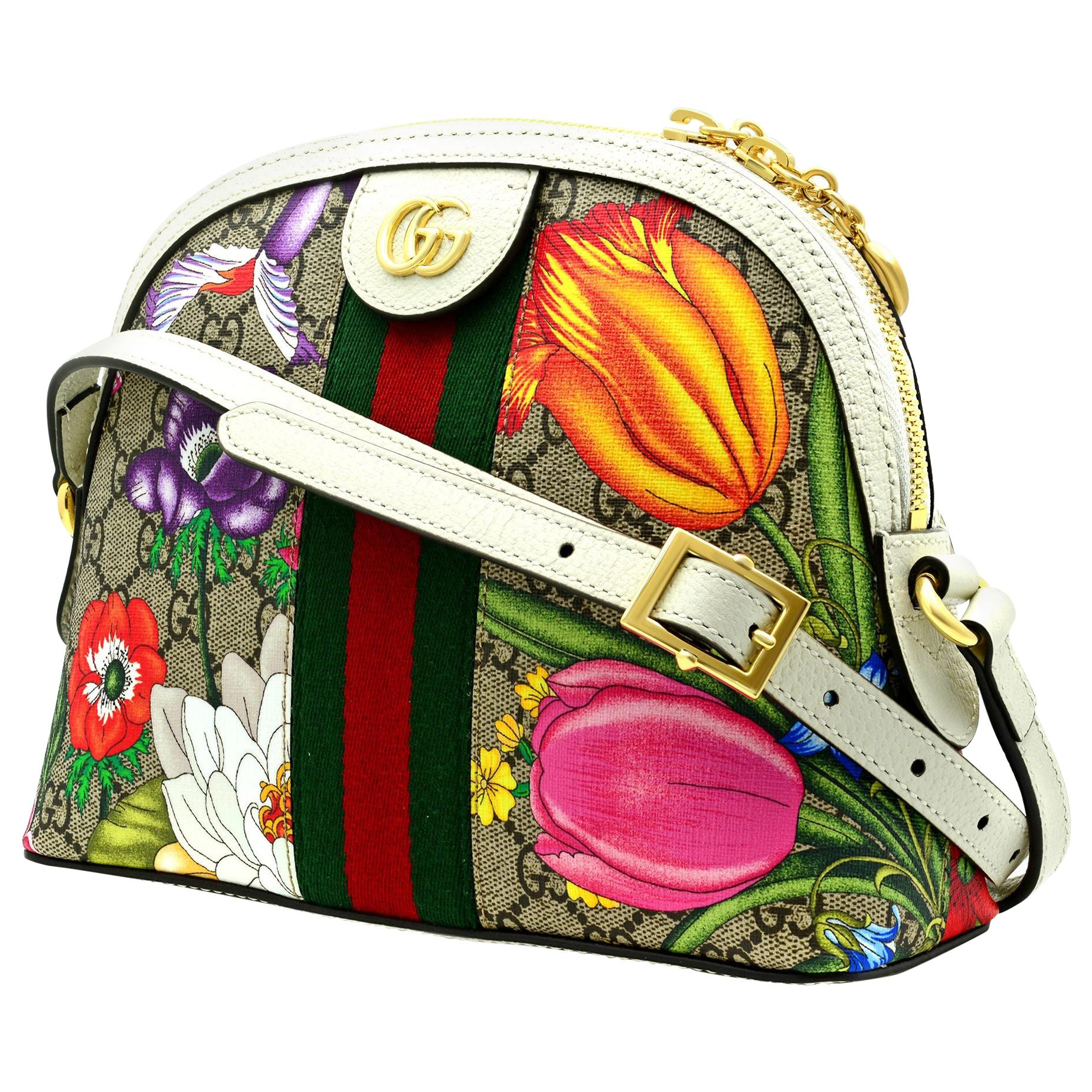 Gucci Ophidia GG Flora Small White Ladies Crossbody Bag