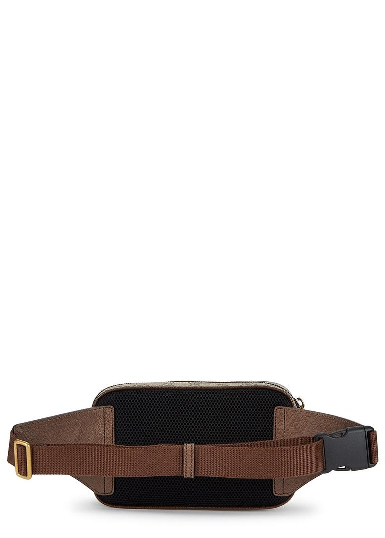 Gucci Ophidia GG Monogram Leather Belt Bag  - Beige/ebony soft GG  - Supreme with brown leather trim - Green and red Web Antique gold-toned hardware Double G - Mesh back - Front zipper pocket - Interior zip pocket and open pockets - Adjustable nylon