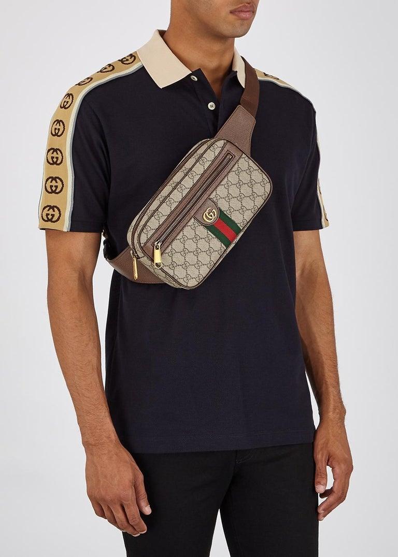 Brown Gucci Ophidia GG Monogram Leather Belt Bag