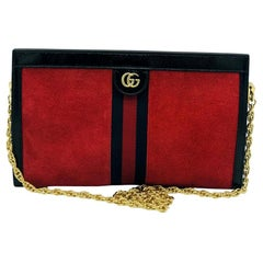 Gucci Ophidia Leather/Suede Bag - Red Suede - New