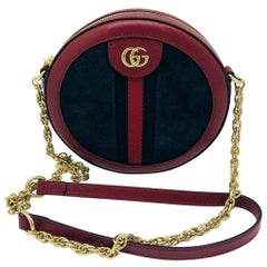 Gucci Ophidia mini round shoulder bag - Blue Suede - New