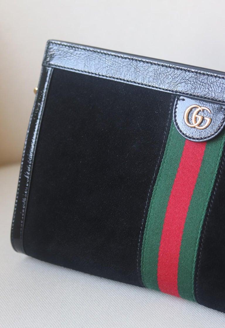 Black Gucci Ophidia Patent Leather-Trimmed Suede Shoulder Bag