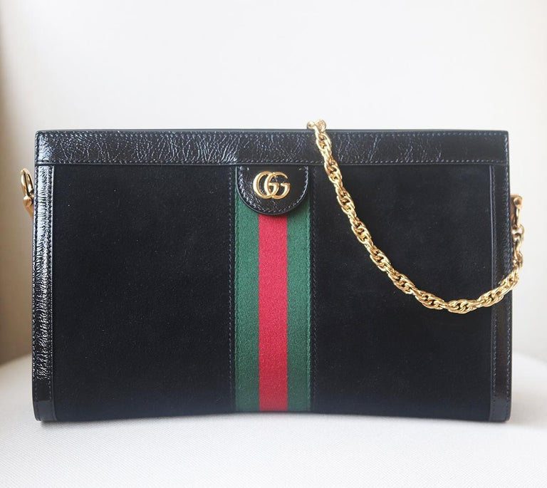 Gucci Ophidia Patent Leather-Trimmed Suede Shoulder Bag In Excellent Condition In London, GB