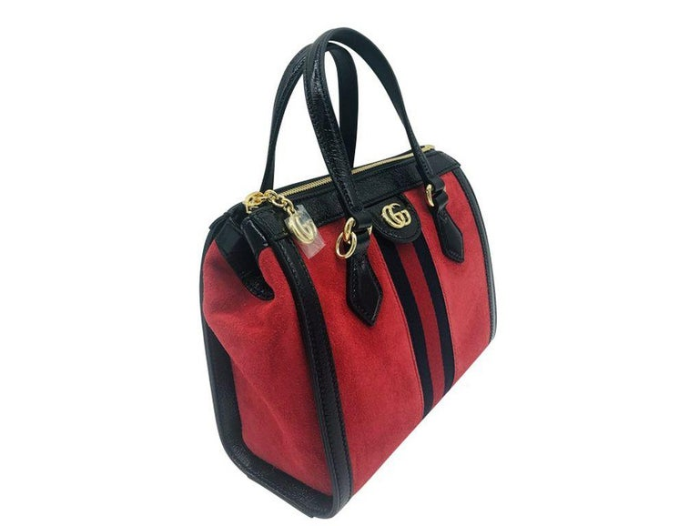Black Gucci Ophidia Red small tote bag - Red Suede - New For Sale