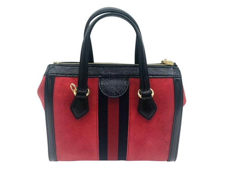 Gucci Ophidia Red small tote bag - Red Suede - New In New Condition For Sale In London, GB