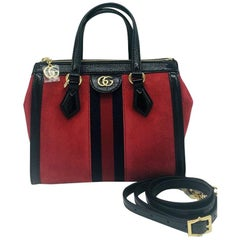 Gucci Ophidia Red small tote bag - Red Suede - New