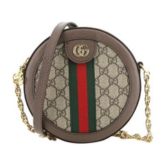 Gucci Ophidia Round Shoulder Bag GG Coated Canvas Mini
