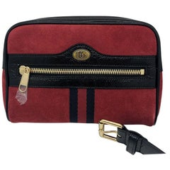 Gucci Ophidia small belt bag - Red Suede Black leather - New