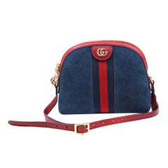 Gucci Ophidia Small Blue and Red Suede Shoulder Bag 499621
