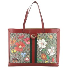Gucci Ophidia Soft Open Tote Flora GG Coated Canvas East West