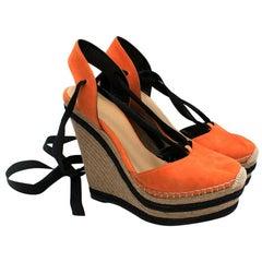 Gucci Orange Alexis Slingback Wedge SandalsIT 39