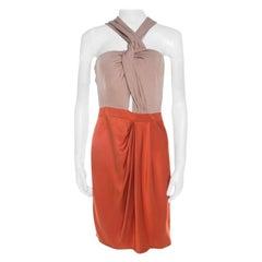 Gucci Orange and Beige Colorblock Silk Tassel Tie Detail Dress M