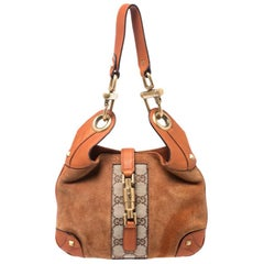 Gucci Orange/Beige GG Canvas, Suede and Leather Small Jackie Nailhead Hobo