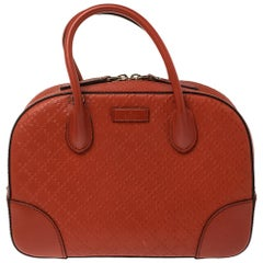 Gucci Orange Diamante Leather Small Bright Satchel