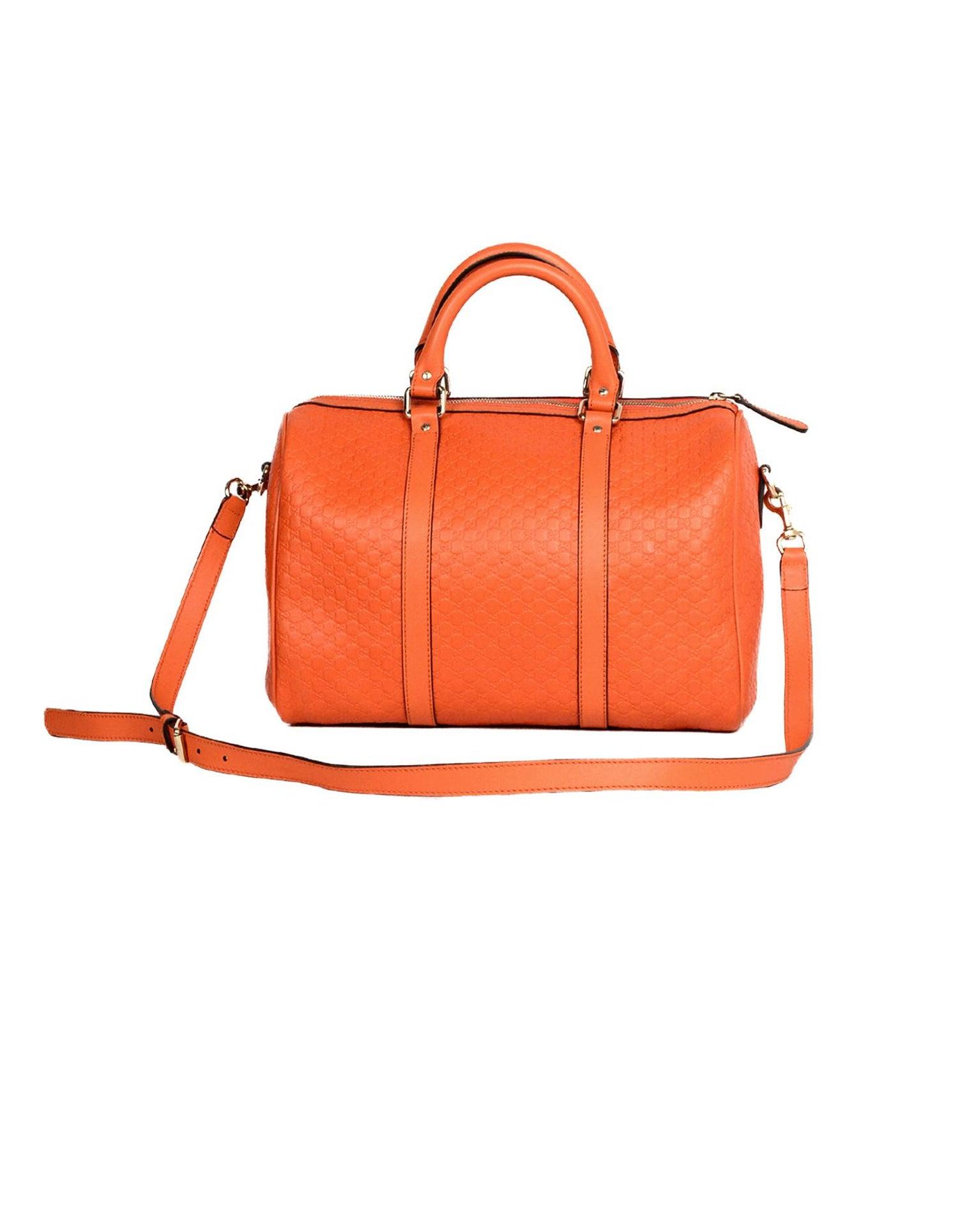 30ef456168a5 Gucci Orange GG Monogram Microguccissima Leather Medium Joy Boston Bag W/  Strap For Sale at 1stdibs