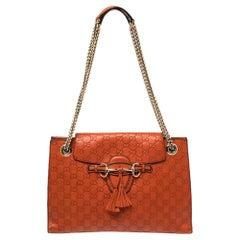 Gucci Orange Guccissima Leather Large Emily Chain Shoulder Bag