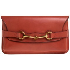 Gucci Orange Leather Bright Bit Clutch