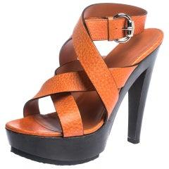 Gucci Orange Leather Cross Strap Platform Ankle Strap Sandals Size 38