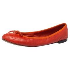 Gucci Orange Leather GG Interlocking Ballet Flats Size 37