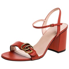 Gucci Orange Leather GG Marmont Ankle Strap Sandals Size 40
