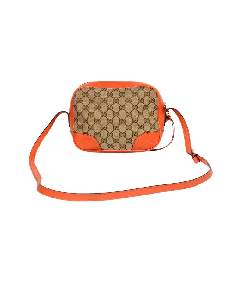 6dfb6f534 Gucci Orange Leather/GG Monogram Bree Crossbody Bag In Excellent Condition  For Sale In New
