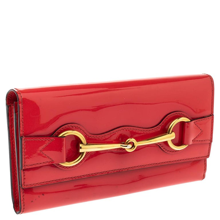 Red Gucci Orange Patent Leather Horsebit Continental Wallet For Sale
