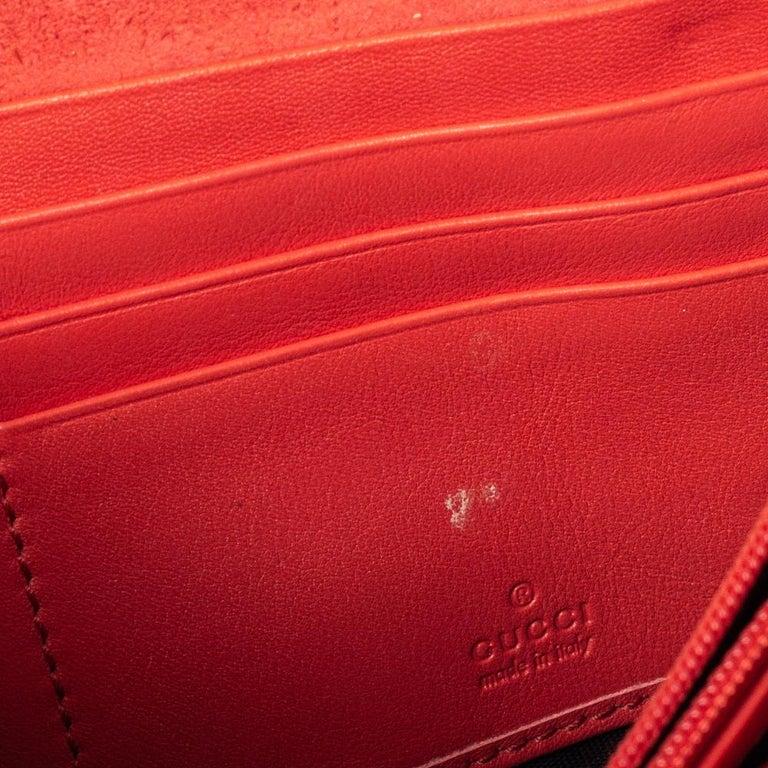 Women's Gucci Orange Patent Leather Horsebit Continental Wallet For Sale
