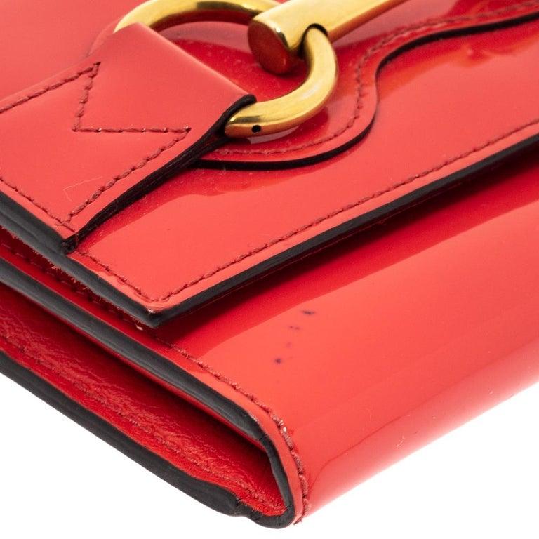 Gucci Orange Patent Leather Horsebit Continental Wallet For Sale 1