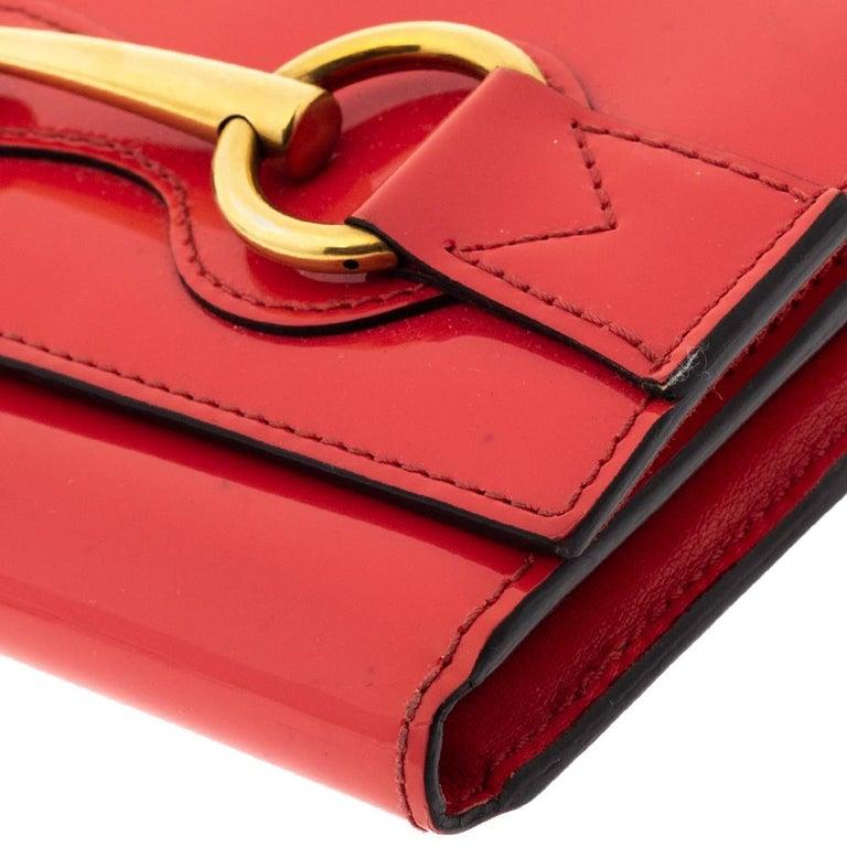 Gucci Orange Patent Leather Horsebit Continental Wallet For Sale 2