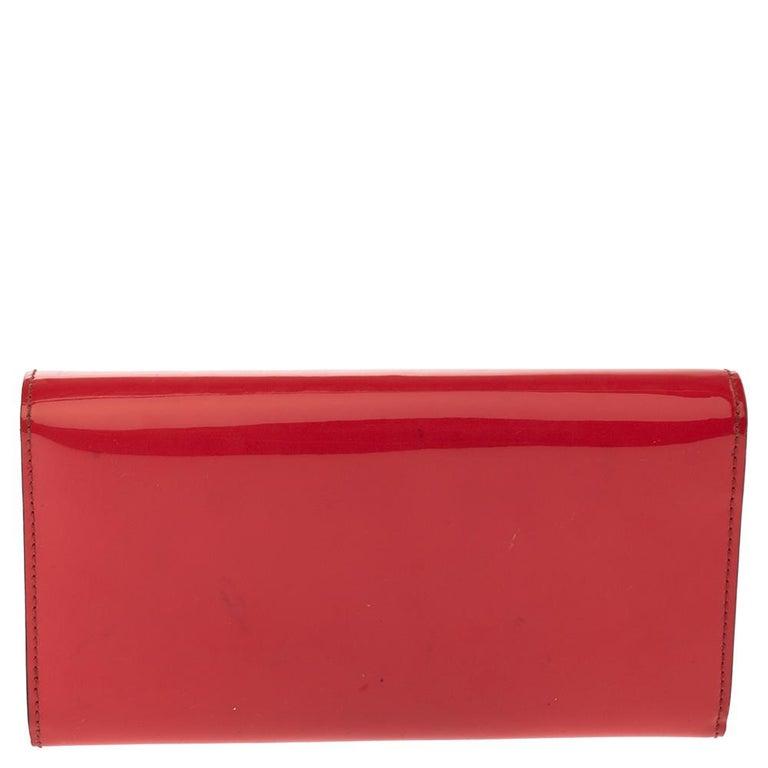 Gucci Orange Patent Leather Horsebit Continental Wallet For Sale 3
