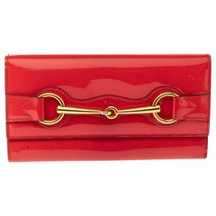 Gucci Orange Patent Leather Horsebit Continental Wallet
