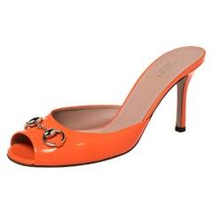 Gucci Orange Patent Leather Horsebit Slide Sandals Size 39
