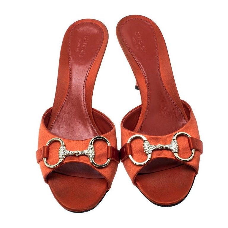 Red Gucci Orange Satin Crystal Embellished Horsebit Slides Size 37