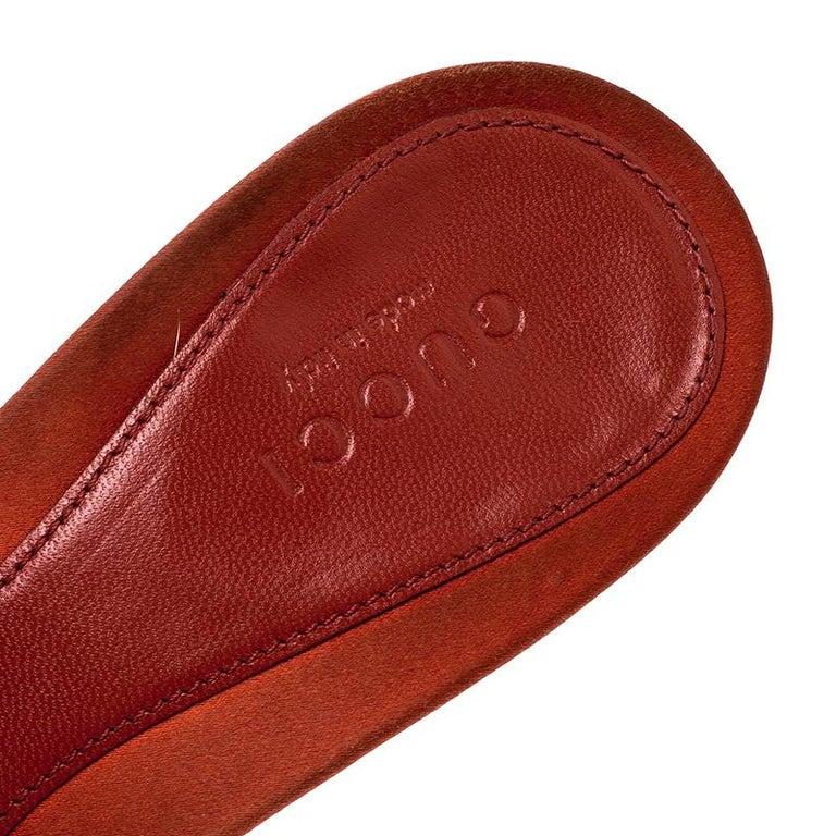 Gucci Orange Satin Crystal Embellished Horsebit Slides Size 37 2
