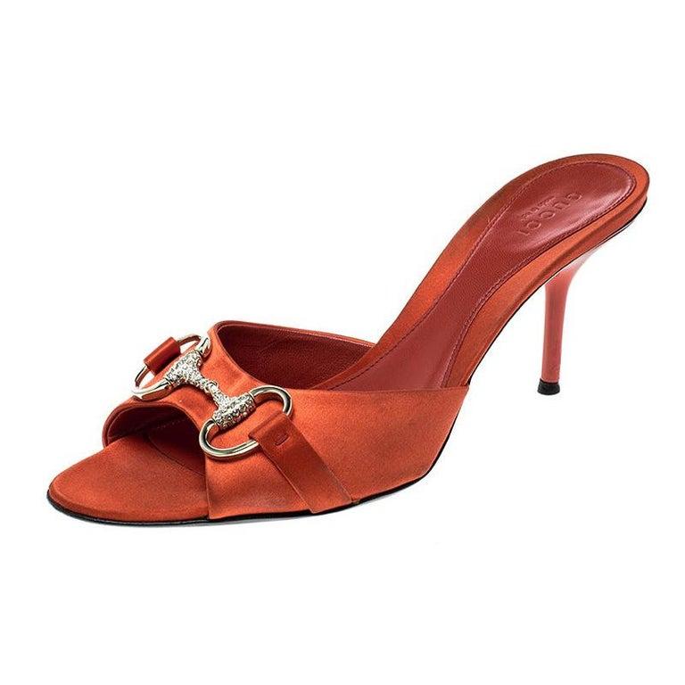 Gucci Orange Satin Crystal Embellished Horsebit Slides Size 37