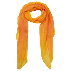 "Gucci Orange/Yellow Ombre Monogram Silk Scarf 62""x27"""