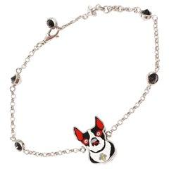 GUCCI Orso and Bosco Color stone silver925 unisex bracelet silver x black x red