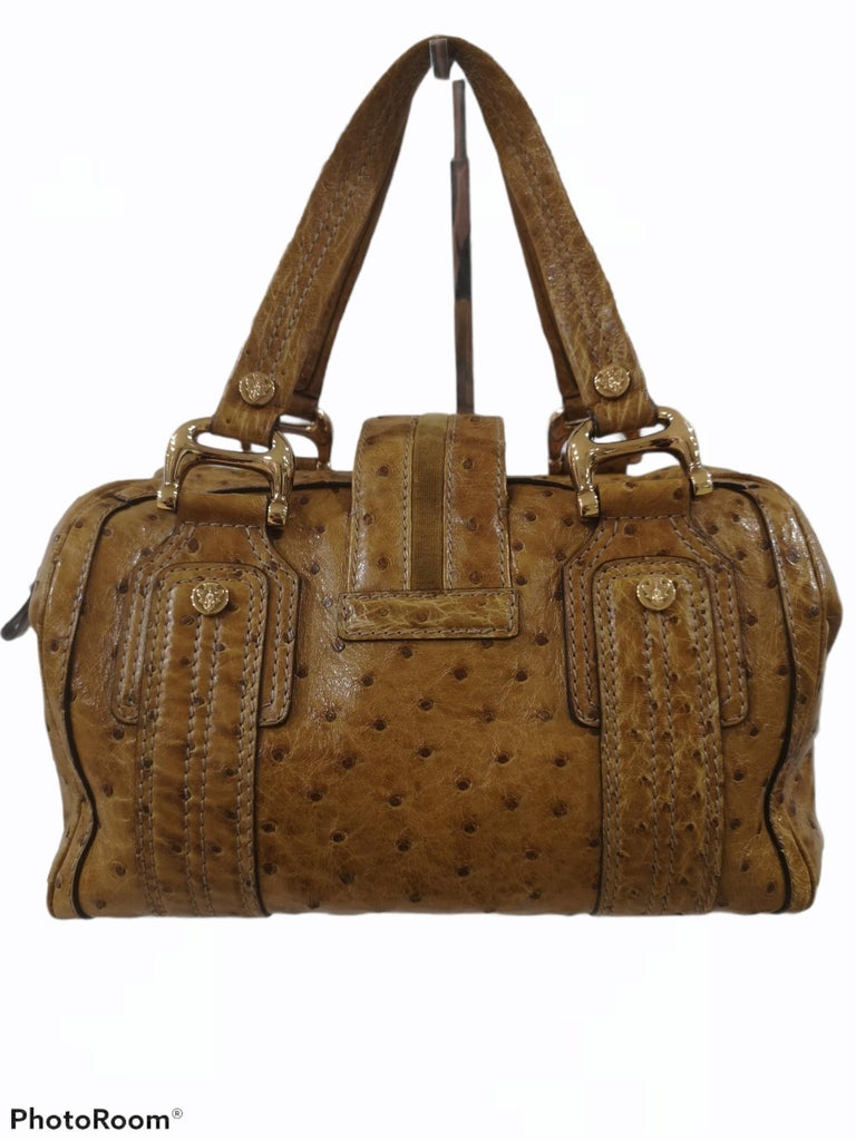 Gucci ostrich speedy light brown handle bag For Sale 9