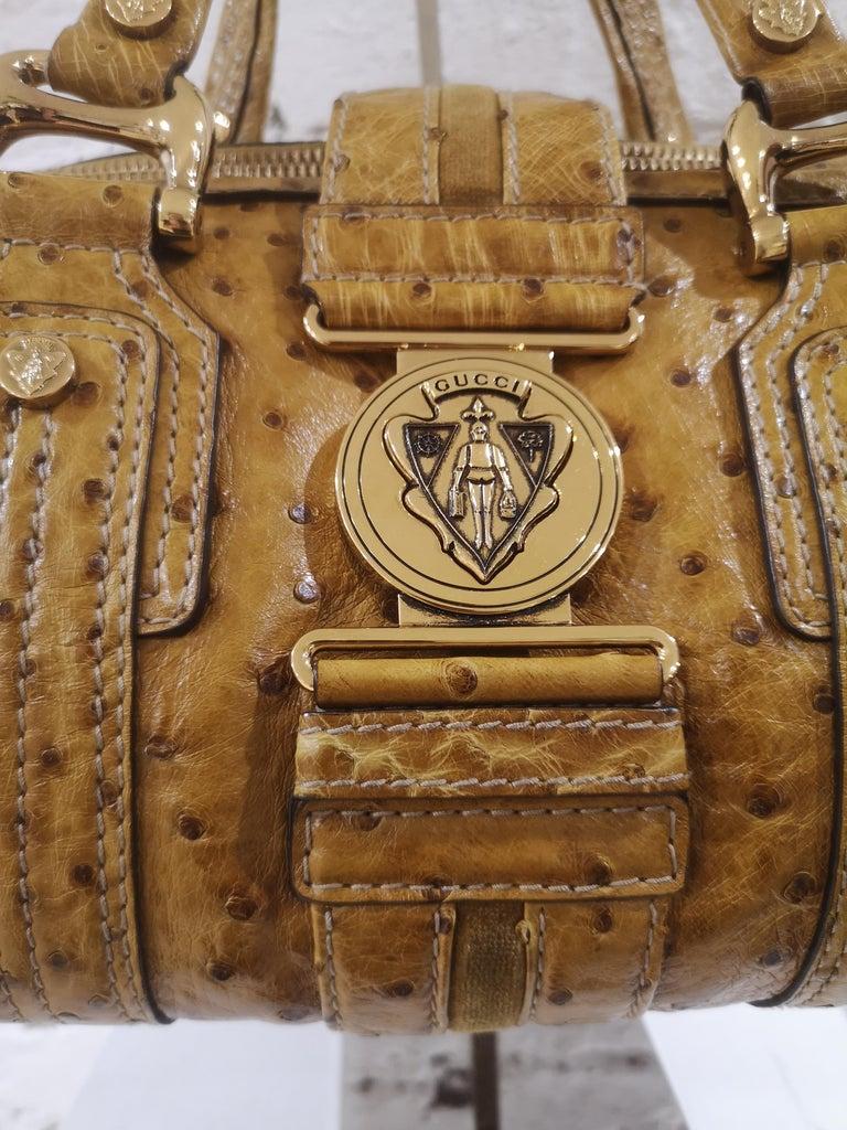 Women's Gucci ostrich speedy light brown handle bag For Sale