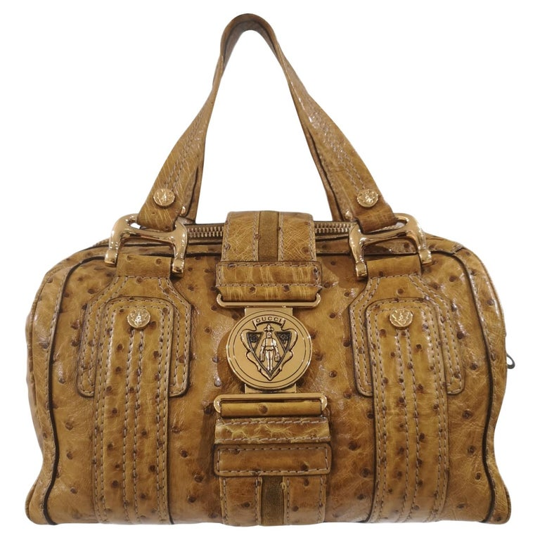 Gucci ostrich speedy light brown handle bag For Sale