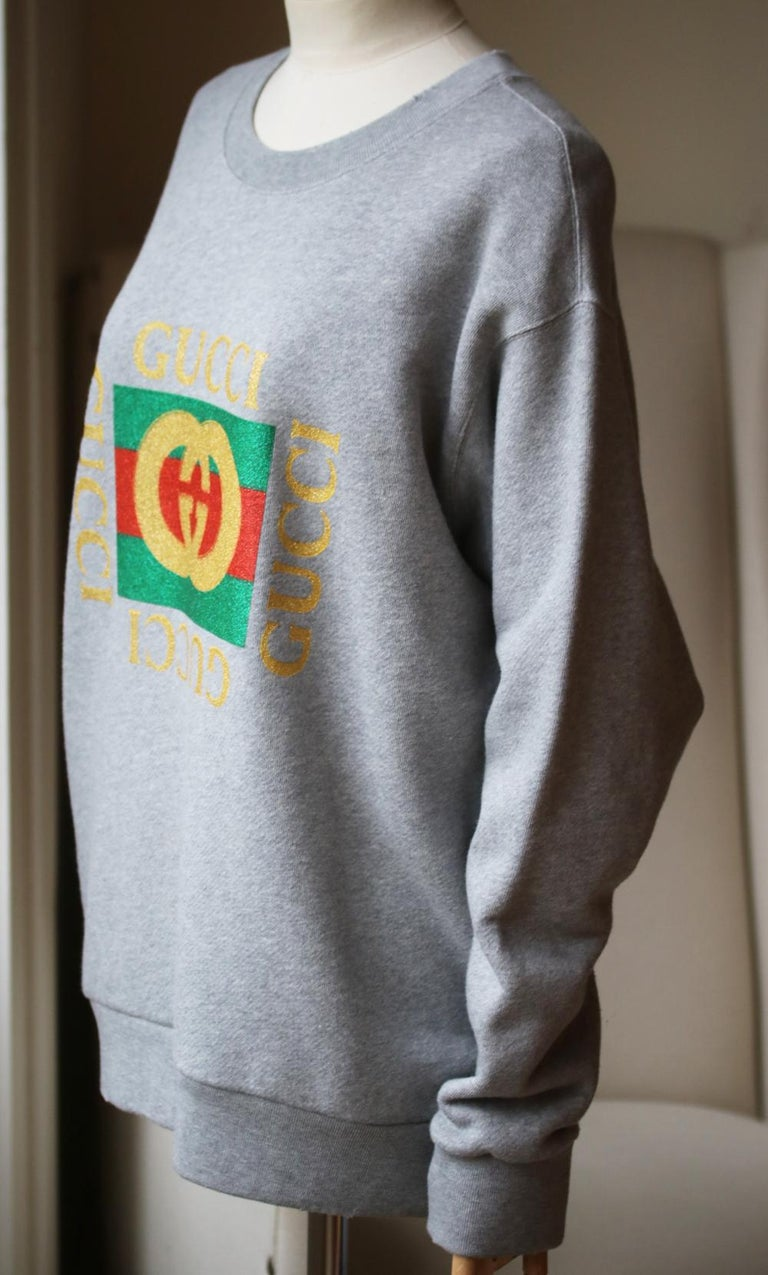 Gray Gucci Oversized Appliquéd Printed Cotton-Terry Sweatshirt For Sale