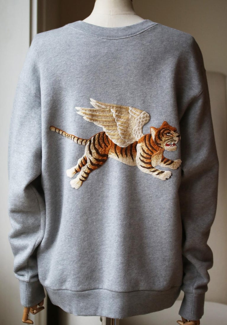 Gucci Oversized Appliquéd Printed Cotton-Terry Sweatshirt In Excellent Condition For Sale In London, GB