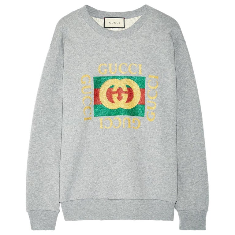 Gucci Oversized Appliquéd Printed Cotton-Terry Sweatshirt For Sale