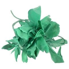 Gucci Oversized Green Flower Silk Brooch Never Worn
