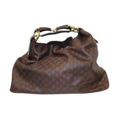 Gucci Oversized Leather Embossed Monogram Shoulder Bag