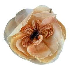 Gucci Oversized Orange Flower Silk Brooch Never Worn