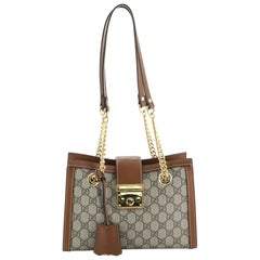 Gucci Padlock Chain Tote GG Coated Canvas Small