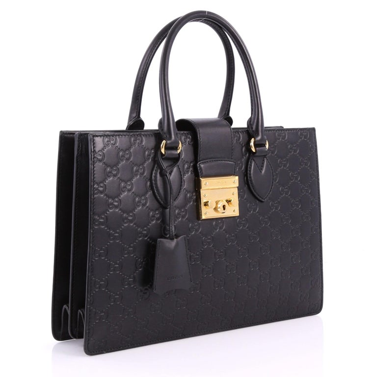 Black Gucci Padlock Convertible Tote Guccissima Leather Medium For Sale